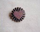 Plum Sweetheart Glitter Rosette Medallion Brooch Pin - handmade paper jewelry, wedding corsage, boutonniere- SMALL