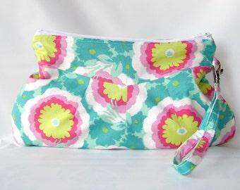 Handbag, Wristlet Purse, Wristlet bag,  Pouch Wristlet, Small Purse, Zipper pouch, Wristlet Zipper Clutch Buttercups, ready to Ship