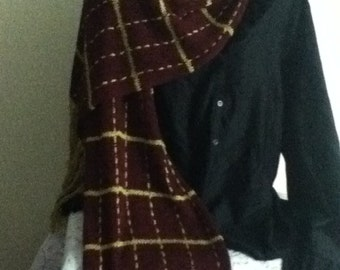 Pre-made Burgandy Scarf w /woven Gold stripes