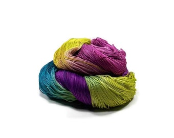 300 Yards Hand Dyed Cotton Crochet Thread Size 10 3 Ply Specialty Thread Purple Teal Chartreuse Blue Hand Painted Fine Cotton Yarn