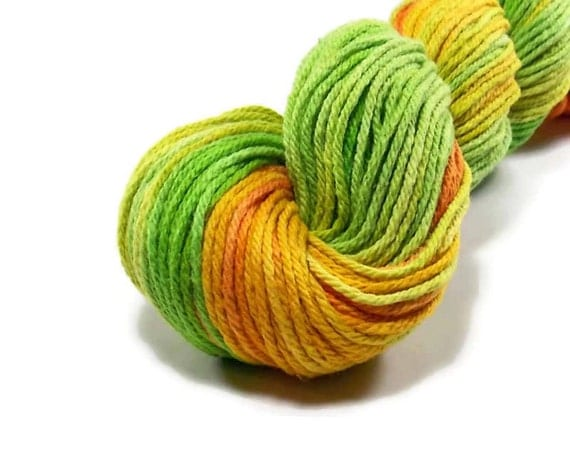 Worsted Weight Yarn : Hand Dyed Yarn Worsted Weight Cotton Yarn Orange Golden Yellow Spring ...