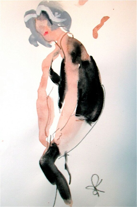 Boudoir Session 6.3 original watercolor nude painting by Gretchen Kelly