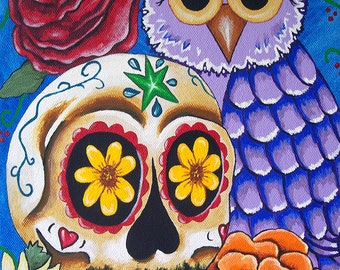 """Day Of The Dead """"The Owl and Sugar Skull"""" Multiple Sizes Available Art Print Poster Mexican Bird Folk Artist J Ellison"""