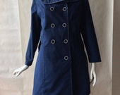 1970's navy blue double breasted coat, with white topstiching and  white edged round buttons, large / petite