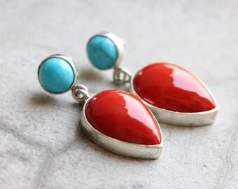 Red Coral turquoise earrings  - Artisan earrings - Bezel earrings - Gemstone earrings - Jewelry gift ideas
