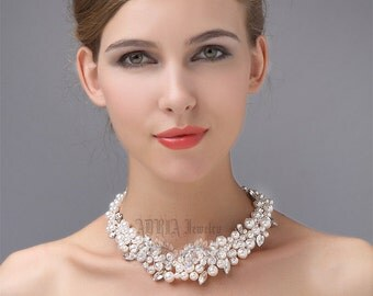 Pearl Wedding Necklace, Bridal Jewelry, Off White Ivory Swarovski Pearls Rhinestone Statement Necklace,Chunky Pearl Bridal Necklace