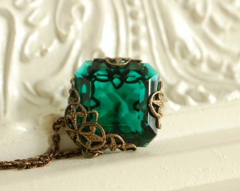emerald green pendant, may birthstone, ornate filigree necklace, filigree wrapped pendant, birthstone jewelry, green glass