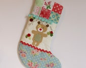 ready to ship Christmas stocking reindeer blue floral foot blue pompom trim