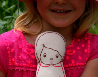 Hand embroidered, Personalized doll - Linen doll plush/soft toy, Nursery Decor, flower-girl/bridesmaid/new baby gift