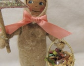 Primitive Easter Doll and Lambie Friend
