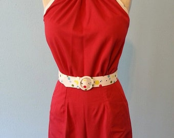 Clearance Sale 1930s resort style halter pantsuit with polka dot trim XS red rayon gabardine no belt