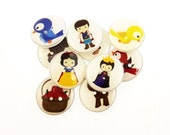 """10 Snow White Buttons. Handmade Buttons.  3/4"""" or 20 mm Fairy Tale or Story Buttons. Sewing, Knitting, Crochet Accessories."""