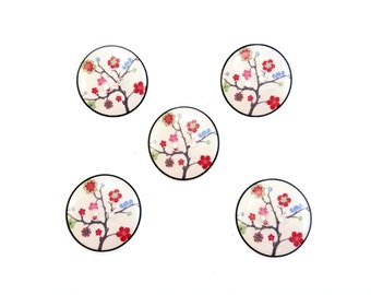 "5 Handmade Buttons. Cherry Blossom Buttons.  3/4"" or 20 mm Flower Sewing Buttons. Craft Buttons.  Novelty buttons."