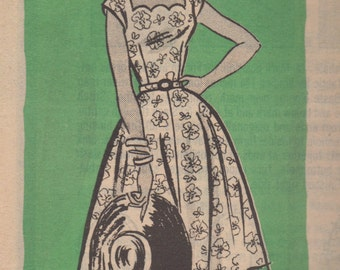 1950s Mail Order Marian Martin 9098 Misses  Dress Pattern Scalloped  Neckline Womens Vintage Sewing Pattern Size 14 Bust  34