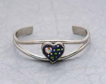 Hearts and Love Swarovski Bracelet - AB Topaz & Olivine with clear crystal set in midnight and silver