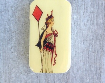 Queen of diamonds pill box, slider tin, mint tin, favor tin, vintage style