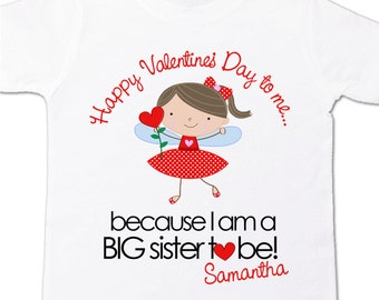 Valentine's Day big sister to be pregnancy announcement adorable Valentine fairy VDBS