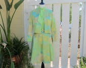 Vintage Jacket Dress, Unusual 1970s Lime Green Pastel Belted Sleeveless Dress and Jacket by Leslie Fay Knits, Vintage Size 10