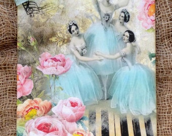 Ballerina Dancing On Piano Musc Gift or Scrapbook Tags or Magnet #450