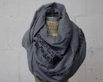 043 Printed Scarf , Poetry Gray Scarves , Edgy Fashion Trends,  Fall Accessories, Wraps and Shawls,