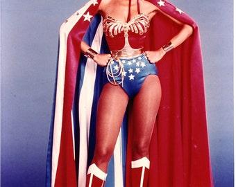 Wonder Woman Costume: Corset with Emblem, Tiara, Cuffs, Belt, Lasso, Choice of Briefs (no cape)...