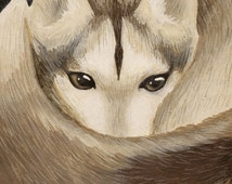 Husky Dog Art Print - Curled Up Dog, Husky Painting, Cute Husky Art Print, Mixed Media Colored Pencil Art, Dog Painting, Animal Art Print