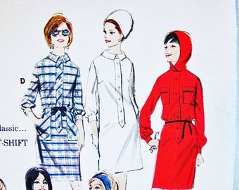 1960s Hooded Dress Pattern Misses size 10 UNCUT MOD Womens Shift Dress with Hood or Collar Vintage Sewing Patterns 60s