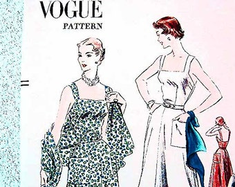 1950s Vogue Dress Pattern Womens Sundress with Scarf Misses size 14 UNCUT Vintage Pattern 50s Womens Dress