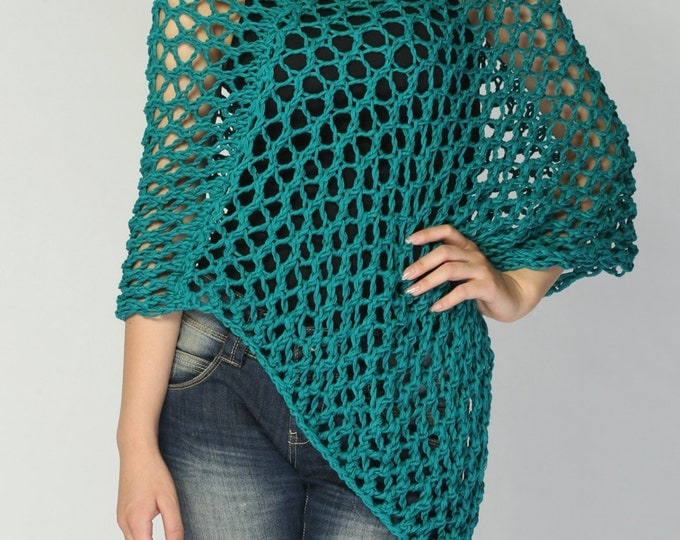 Hand knit Little cotton poncho knit scarf knit shrug in Emerald Green - ready to ship