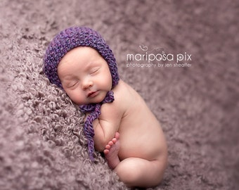 READY TO SHIP Newborn knit bonnet in amethyst