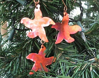 Dancing Baby Starfish, Copper Christmas Ornaments, Rustic Holiday Decor, Set of 3 Mini Decorations