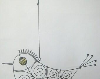 Yellow - Eyed Wire Bird Sculpture
