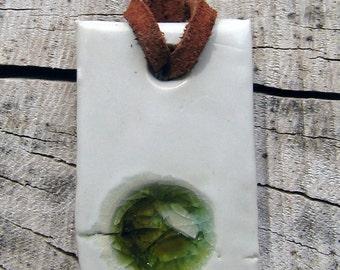 Recycled Glass Ceramic Pendant - Handmade Abstract Jewlery - Sparkling Eco-Friendly Jewlery