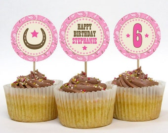 Personalized Cowgirl Party Cupcake Toppers – DIY Printable – 2 Inch Circles (Digital File)