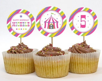 Circus Party Cupcake Toppers – 2 Inch Circles – Big Top Pink – Personalized Printable (Digital File)