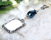 Something blue. Wedding bouquet memorial charm. Bridal bouquet photo charms with Blue teardrop crystal. Wedding keepsake. Photo jewelry.
