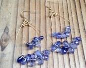 Iolite Blue and Gold Dangle Earrings, Gemstone Dangle Hoop Earrings