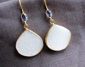 White Druzy Earrings with Iolite in Gold