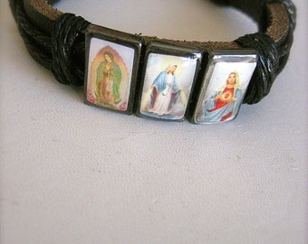 Vintage Virgin Mary Saint Leather Bracelet- Protection that we all need daily