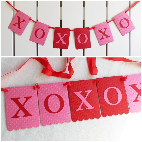 XoXoXo Banner - Embossed Hearts - READY TO SHIP - Valentine's Day Banner Valentines Day Decor Hugs and Kisses Banner Valentine Home Decor
