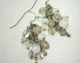Color Cluster Earrings - White Waterfall OOAK - Free Shipping within the U.S.