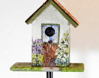 White Rustic Cedar Birdhouse Plant Poke , Handmade and Hand Painted