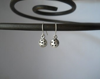 polka dot drop earrings, sterling silver, tiny earrings, simple earrings, everyday earrings, MADE TO ORDER