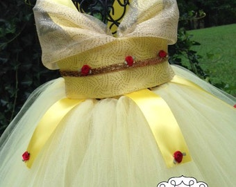 Princess Belle Tutu Dress  - Belle Costume - Belle Dress - Beauty and the Beast Tutu Dress