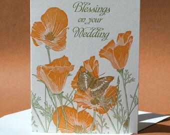 California Poppy Wedding Card
