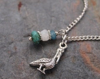 Gemstone and Pelican Necklace