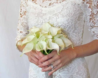 Ivory Calla Lily Bouquet for Bride, Silk Flower Bouquet