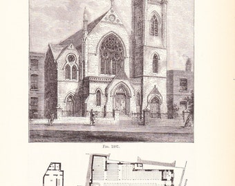 1892 Architecture Print - Church Blueprint - Vintage Antique Art Illustration Interior Design Great for Framing 100 Years Old