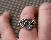 SALE ....Vintage Sterling Silver  Lizard  in  flowers with  Purple quartz  Ring Twig Diorama  in size  6 and half  Stunning