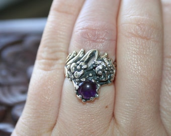 SALE...Vintage Sterling Silver Frog in flowers amethyst stone Ring Twig Diorama  Stunning in size 5 and half